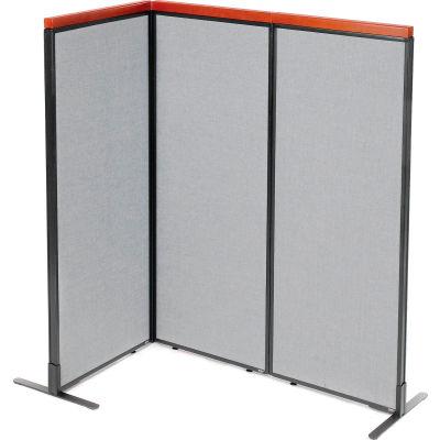 "Interion® Deluxe Freestanding 3-Panel Corner Room Divider, 24-1/4""W x 61-1/2""H Panels, Gray"