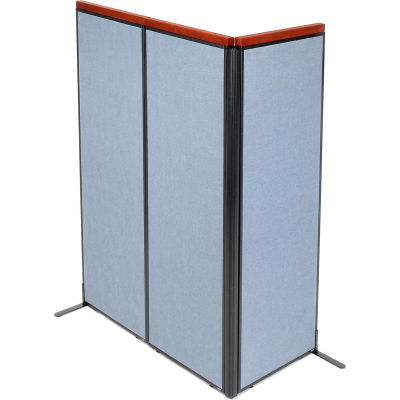 "Interion® Deluxe Freestanding 3-Panel Corner Room Divider, 24-1/4""W x 73-1/2""H Panels, Blue"