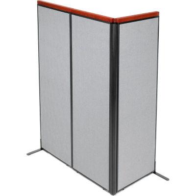 "Interion® Deluxe Freestanding 3-Panel Corner Room Divider, 24-1/4""W x 73-1/2""H Panels, Gray"
