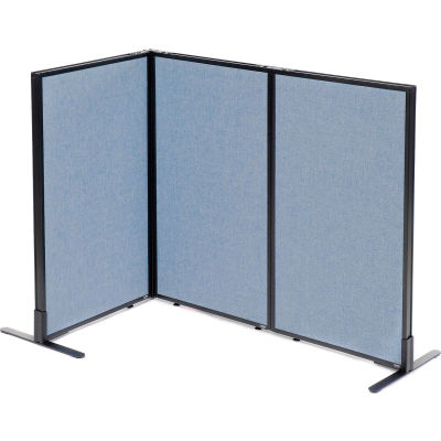 "Interion® Freestanding 3-Panel Corner Room Divider, 24-1/4""W x 42""H Panels, Blue"