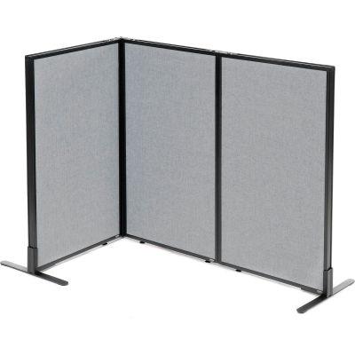 "Interion® Freestanding 3-Panel Corner Room Divider, 24-1/4""W x 42""H Panels, Gray"
