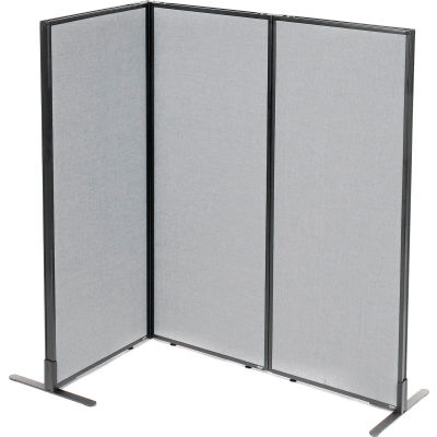 "Interion® Freestanding 3-Panel Corner Room Divider, 24-1/4""W x 60""H Panels, Gray"