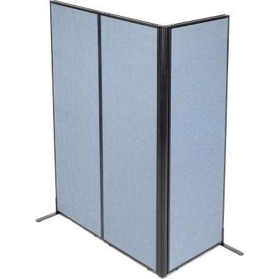 "Interion® Freestanding 3-Panel Corner Room Divider, 24-1/4""W x 72""H Panels, Blue"