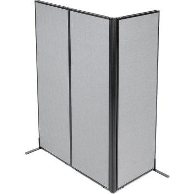 "Interion® Freestanding 3-Panel Corner Room Divider, 24-1/4""W x 72""H Panels, Gray"