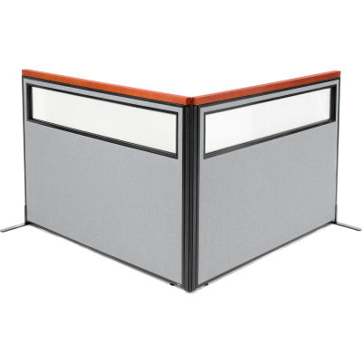 "Interion® Deluxe Freestanding 2-Panel Corner Divider w/Partial Window 60-1/4""W x 43-1/2""H Gray"