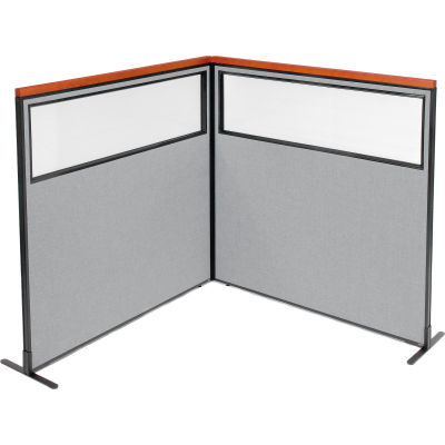 "Interion® Deluxe Freestanding 2-Panel Corner Divider w/Partial Window 60-1/4""W x 61-1/2""H Gray"