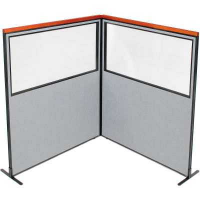 "Interion® Deluxe Freestanding 2-Panel Corner Divider w/Partial Window 60-1/4""W x 73-1/2""H Gray"