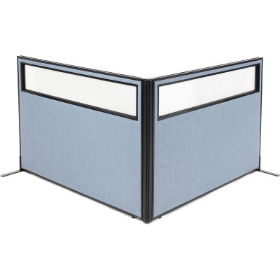 "Interion® Freestanding 2-Panel Corner Room Divider w/Partial Window 60-1/4""W x 42""H Panels Blue"