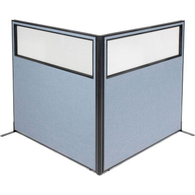 "Interion® Freestanding 2-Panel Corner Room Divider w/Partial Window 60-1/4""W x 60""H Panels Blue"