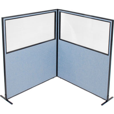 "Interion® Freestanding 2-Panel Corner Room Divider w/Partial Window 60-1/4""W x 72""H Panels Blue"