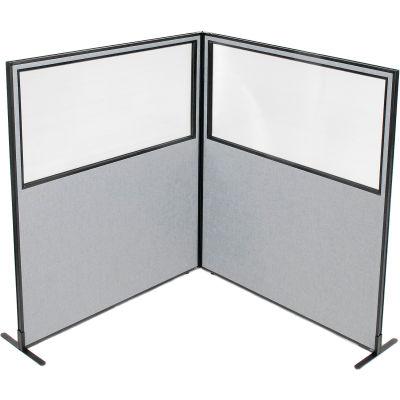 "Interion® Freestanding 2-Panel Corner Room Divider w/Partial Window 60-1/4""W x 72""H Panels Gray"