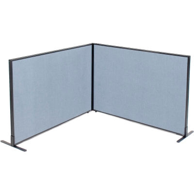 "Interion® Freestanding 2-Panel Corner Room Divider, 60-1/4""W x 42""H Panels, Blue"