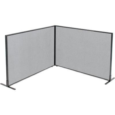 "Interion® Freestanding 2-Panel Corner Room Divider, 60-1/4""W x 42""H Panels, Gray"