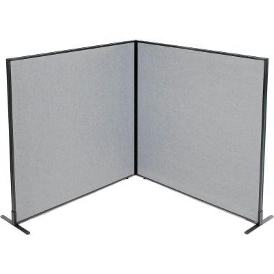 "Interion® Freestanding 2-Panel Corner Room Divider, 60-1/4""W x 60""H Panels, Gray"