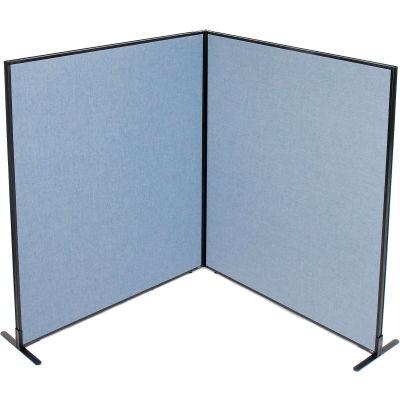 "Interion® Freestanding 2-Panel Corner Room Divider, 60-1/4""W x 72""H Panels, Blue"