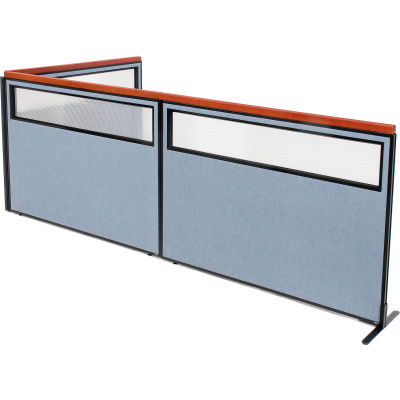 "Interion® Deluxe Freestanding 3-Panel Corner Divider w/Partial Window 60-1/4""W x 43-1/2""H Blue"