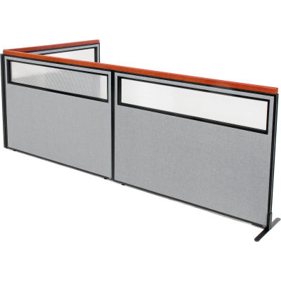 "Interion® Deluxe Freestanding 3-Panel Corner Divider w/Partial Window 60-1/4""W x 43-1/2""H Gray"
