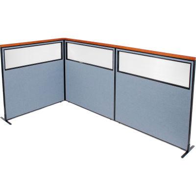"Interion® Deluxe Freestanding 3-Panel Corner Divider w/Partial Window 60-1/4""W x 61-1/2""H Blue"