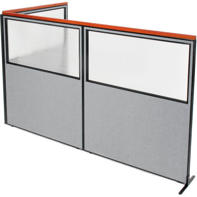 "Interion® Deluxe Freestanding 3-Panel Corner Divider w/Partial Window 60-1/4""W x 73-1/2""H Gray"