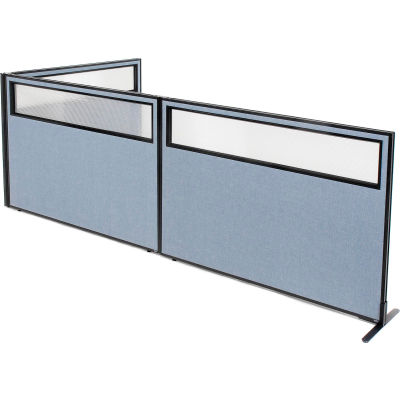 "Interion® Freestanding 3-Panel Corner Room Divider w/Partial Window 60-1/4""W x 42""H Panels Blue"