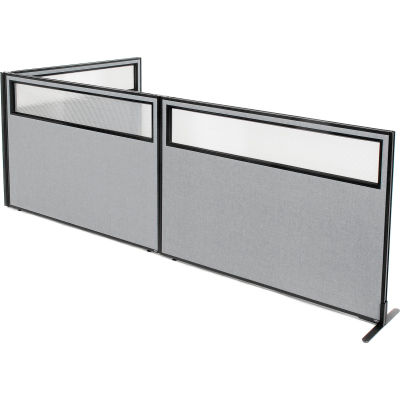 "Interion® Freestanding 3-Panel Corner Room Divider w/Partial Window 60-1/4""W x 42""H Panels Gray"