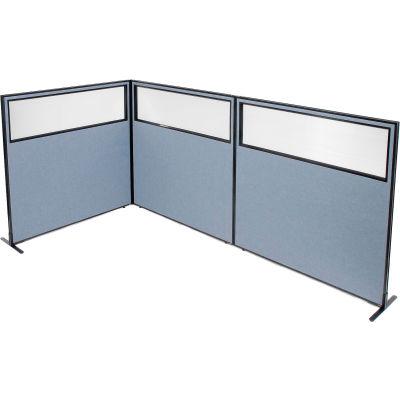 "Interion® Freestanding 3-Panel Corner Room Divider w/Partial Window 60-1/4""W x 60""H Panels Blue"