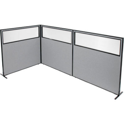 "Interion® Freestanding 3-Panel Corner Room Divider w/Partial Window 60-1/4""W x 60""H Panels Gray"