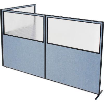 "Interion® Freestanding 3-Panel Corner Room Divider w/Partial Window 60-1/4""W x 72""H Panels Blue"