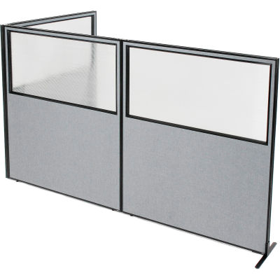 "Interion® Freestanding 3-Panel Corner Room Divider w/Partial Window 60-1/4""W x 72""H Panels Gray"