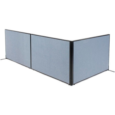 "Interion® Freestanding 3-Panel Corner Room Divider, 60-1/4""W x 42""H Panels, Blue"