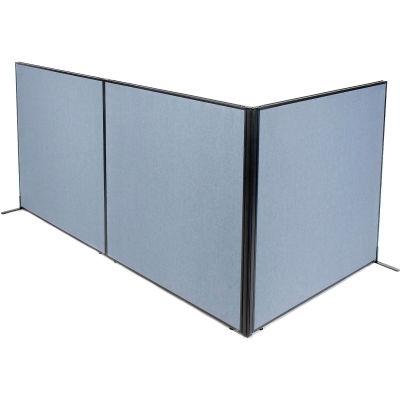 "Interion® Freestanding 3-Panel Corner Room Divider, 60-1/4""W x 60""H Panels, Blue"