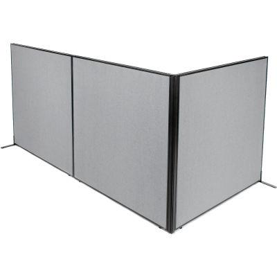 "Interion® Freestanding 3-Panel Corner Room Divider, 60-1/4""W x 60""H Panels, Gray"