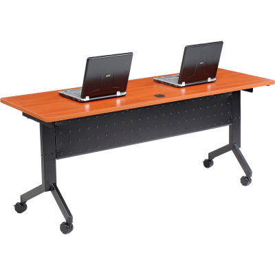 "Interion® Training Table - Flip-Top 72"" x 24"" - Cherry"