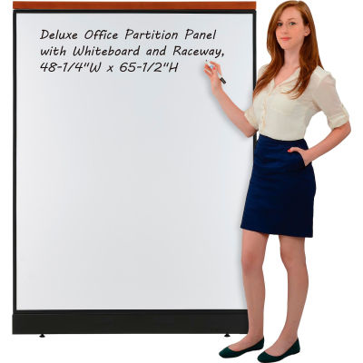 """Interion® Deluxe Office Partition Panel with Whiteboard and Raceway, 48-1/4""""W x 65-1/2""""H"""