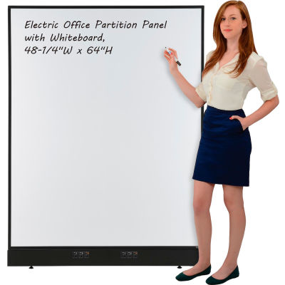 "Interion® Electric Office Partition Panel with Whiteboard, 48-1/4""W x 64""H"