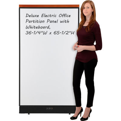 """Interion® Deluxe Electric Office Partition Panel with Whiteboard, 36-1/4""""W x 65-1/2""""H"""