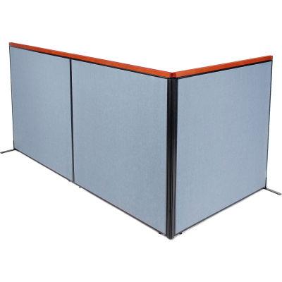 "Interion® Deluxe Freestanding 3-Panel Corner Room Divider, 60-1/4""W x 61-1/2""H, Blue"