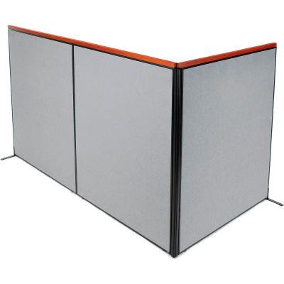 "Interion® Deluxe Freestanding 3-Panel Corner Room Divider, 60-1/4""W x 73-1/2""H, Gray"