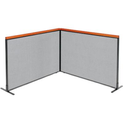 "Interion® Deluxe Freestanding 2-Panel Corner Room Divider, 60-1/4""W x 43-1/2""H, Gray"