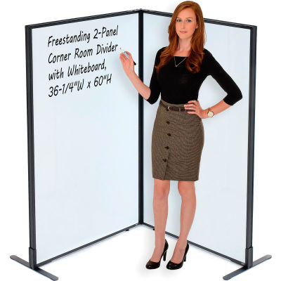"Interion® Freestanding 2-Panel Corner Room Divider with Whiteboard, 36-1/4""W x 60""H"