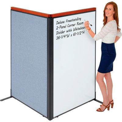 "Interion® Deluxe Freestanding 2-Panel Corner Room Divider w/Whiteboard 36-1/4""W x 61-1/2""H Blue"