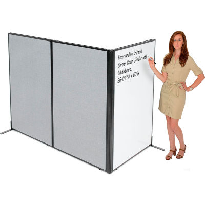 """Interion® Freestanding 3-Panel Corner Room Divider with Whiteboard, 36-1/4""""W x 60""""H, Gray"""