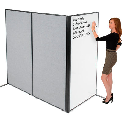 """Interion® Freestanding 3-Panel Corner Room Divider with Whiteboard, 36-1/4""""W x 72""""H, Gray"""