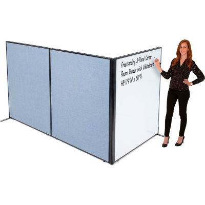 """Interion® Freestanding 3-Panel Corner Room Divider with Whiteboard, 48-1/4""""W x 60""""H, Blue"""