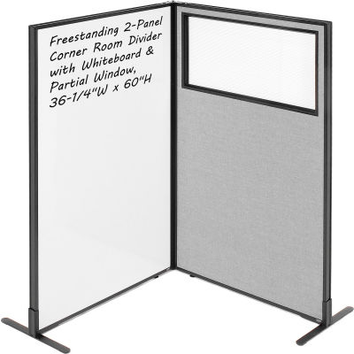 "Interion® 2-Panel Corner Room Divider with Whiteboard & Partial Window, 36-1/4""W x 60""H, Gray"