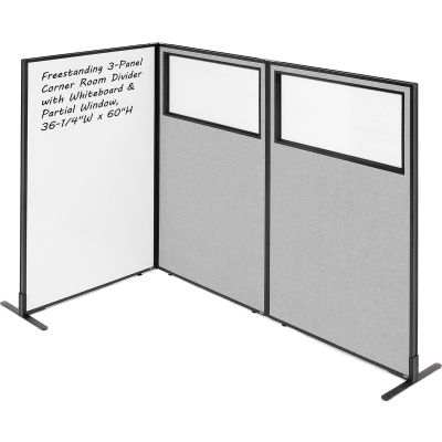 "Interion® 3-Panel Corner Room Divider with Whiteboard & Partial Window, 36-1/4""W x 60""H, Gray"