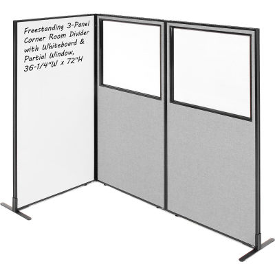"""Interion® 3-Panel Corner Room Divider with Whiteboard & Partial Window, 36-1/4""""W x 72""""H, Gray"""