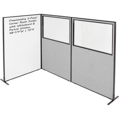 "Interion® 3-Panel Corner Room Divider with Whiteboard & Partial Window, 48-1/4""W x 72""H, Gray"