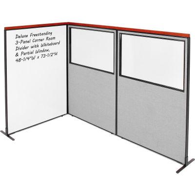 Interion® Deluxe Freestanding 3-Panel Corner w/Whiteboard & Partial Window 48-1/4Wx73-1/2H Gray