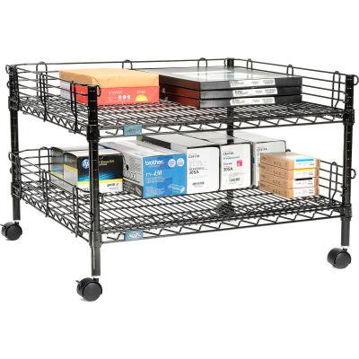 "Nexel™ 2-Shelf Black Wire Shelf Copier Stand/Media Supply Cart, 32""W x 30""D x 20""H"
